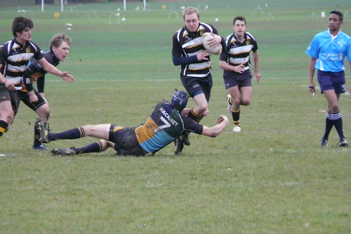 Man of the Match, Hackney open-side, Ben Chamberlain makes yet another tackle