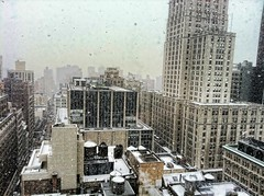 Manhattan - snowing - aerial view from Happy Cog photo by Jeffrey