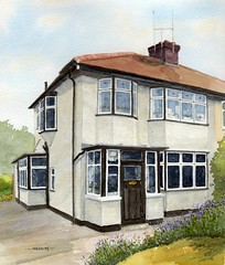John Lennon's Childhood Home in Watercolour photo by Rob Thorpe art