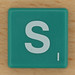 Scrabble White Letter on Green S