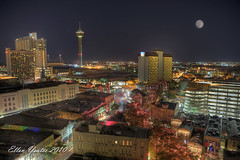 San Antonio Skyline with Christmas lights with Full Moon photo by Ellen Yeates