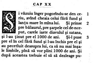 Apocalipsa 20 în Traducerea București de la 1688