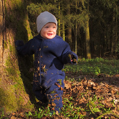 A little man stands in the forest photo by Batikart