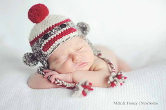 Sock Monkey Hat for a Newborn Baby photo by sock monkey kook