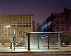 Bus stop, cold night. photo by wojszyca