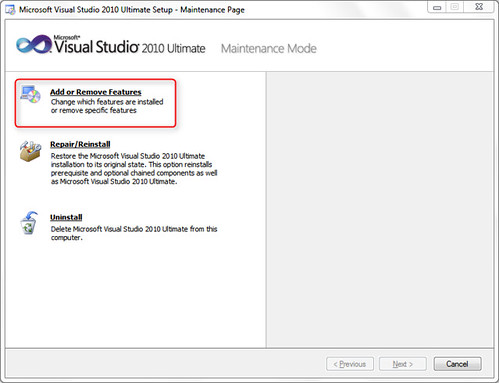 Modifying Visual Studio 2010 Installation