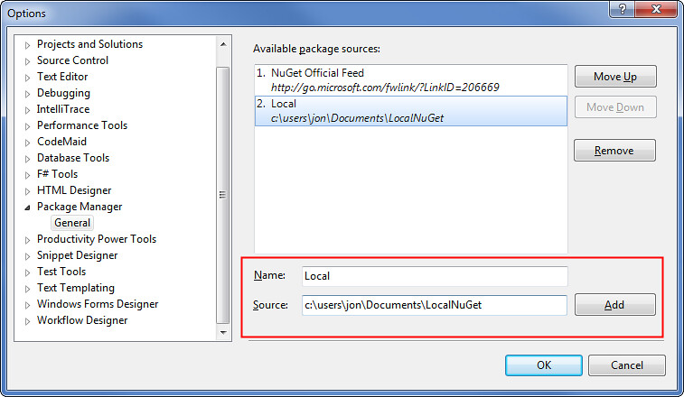 Local NuGet - Adding a package source