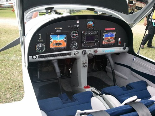 The glass cockpit of the Evektor SportsStar light-sport aircraft.