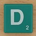 Scrabble White Letter on Green D