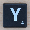 Scrabble White Letter on Black Y