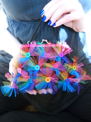 Black Crochet Purse With Rainbow Buttons And Tulle photo by babukatorium