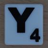 Scrabble Black Letter on White Y
