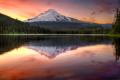 Reflection of Mount Hood on Trillium Lake at Sunset - HDR photo by David Gn Photography