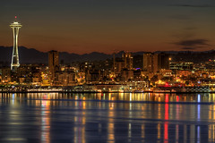 Seattle Downtown Skyline from Alki Beach Before Dawn - HDR photo by David Gn Photography
