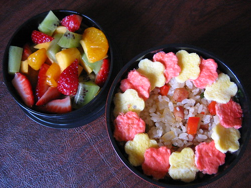 [bento with spam fried rice, fruit tier]