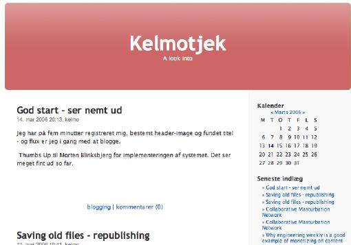 Kelmotjek - nem blogside oprettet på fem minutter