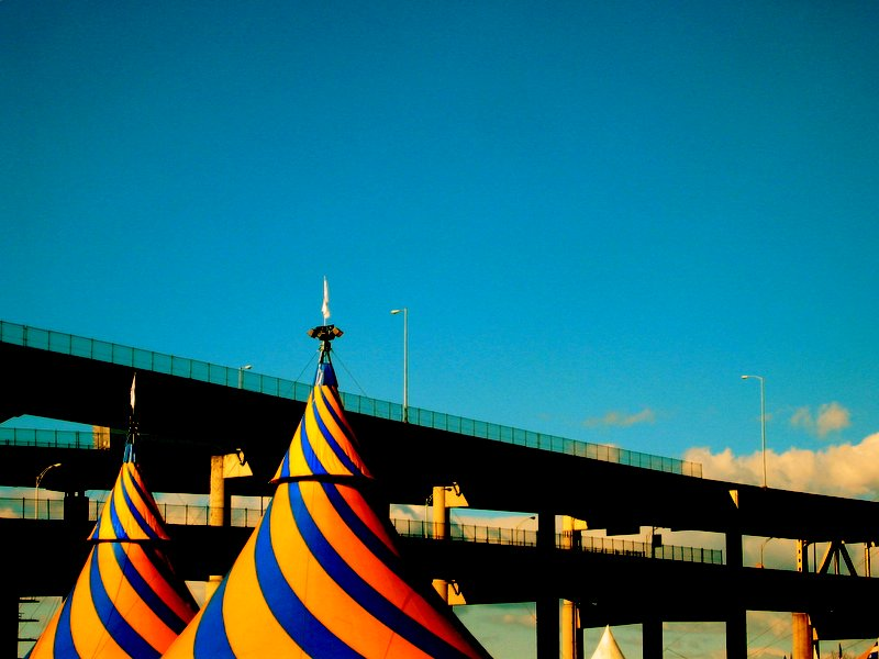 Circus tents by the highway