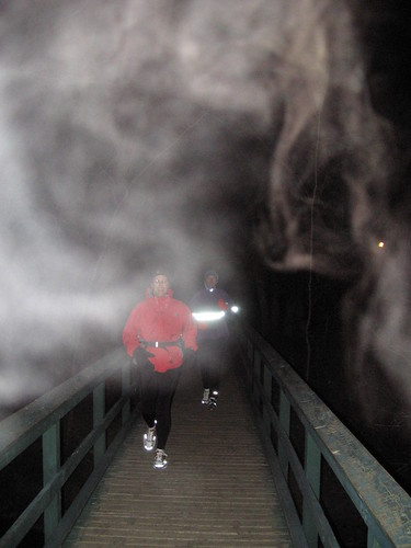 Monday night hill training in the fog