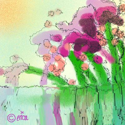 spring airbrush watercolor illustration