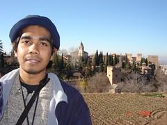 Pemandangan Palacio Nazaries Dari Generalife di Alhambra, Granada, Spain