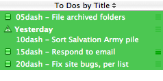 scheduling dashes in iCal