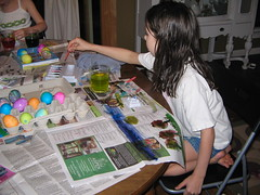 Abigail coloring eggs