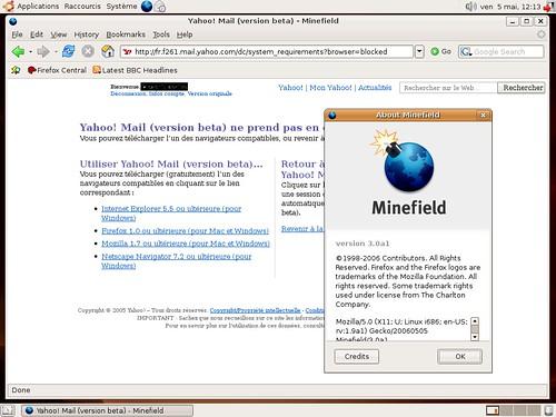 Yahoo Mail et Minefield sous Ubuntu Linux...