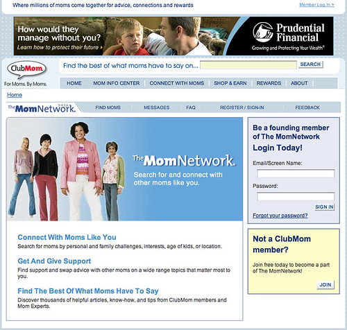 MomNetwork Login Page