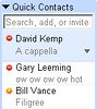 Google 'Quick Contacts'