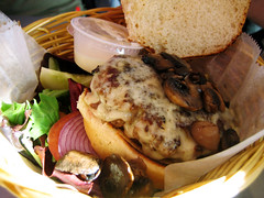 burger with swiss and mushrooms