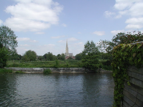 Salisbury cathedral, across the water meadows