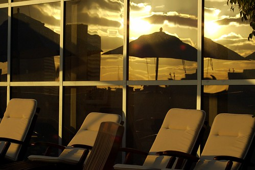 sunset on the business lounge