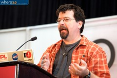 Me (Chris Spurgeon) speaking at the Where2.0 conference.  Thanks to James Duncan Davidson/O'Reilly Media for the photo