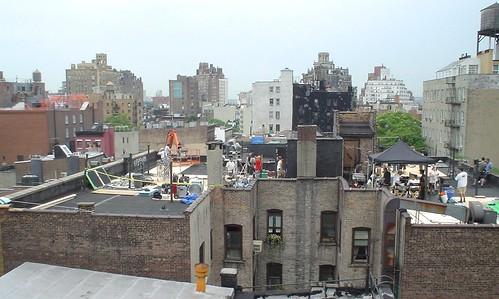 Film crew on the next rooftop