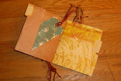 Distressed paper bag mini-book detail