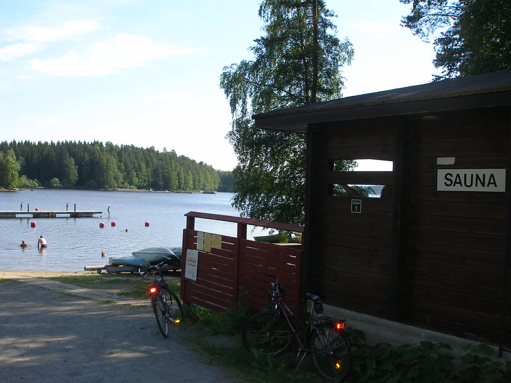 The sauna and lake at Koupori, Finland