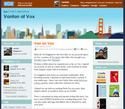 My Vox home page