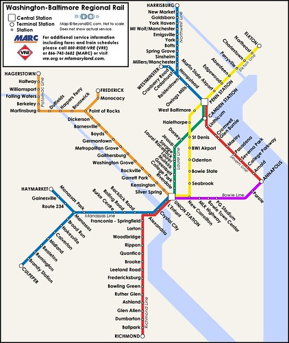Proposed map of a Washington-Baltimore regional rail system