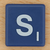 Scrabble White Letter on Blue S
