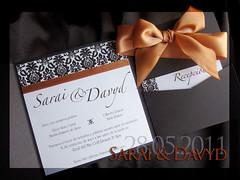 Brown and orange square pocketfold wedding invitation photo by Invitaciones Di Vanessa