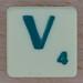 Scrabble green letter V