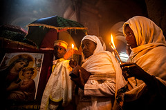 priests and pilgrims celebrate fasika in the church Bet Medhame Alem.(easter)lalibela photo by anthony pappone photography