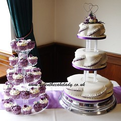 purple 3 tier & cupcake tower photo by Helen The Cake Lady