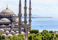 The Blue Mosque (Sultan Ahmet Camii) and the blue sea, Istanbul Turkey photo by Maria_Globetrotter (not globetrotting)