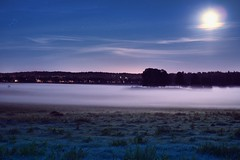 Mist rising from the moonlit field photo by Arkku