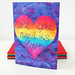Ibiza - 'All you need is love'- A colourful card with a rainbow heart and positive quote from an original felt painting.