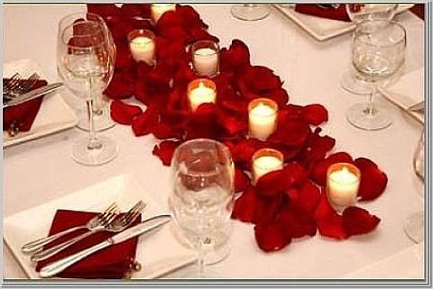 rose petals long table photo by Wedding or Party Decorations