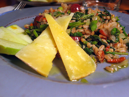 Warm Farro Salad with Apples and Cheddar