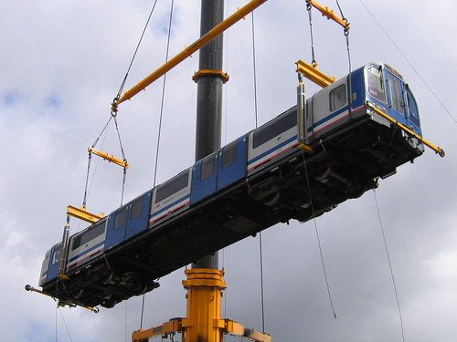 Waterloo & City Line train lifted by crane - Photo by Stephen Knight