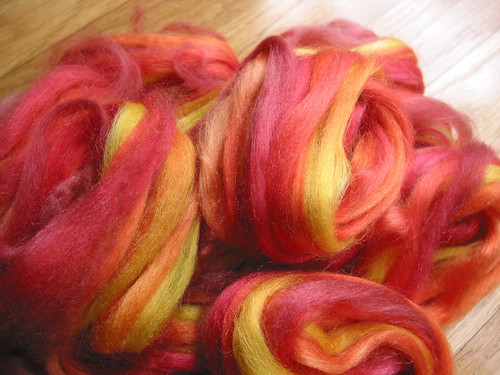 dyed Tussah silk, sunfires